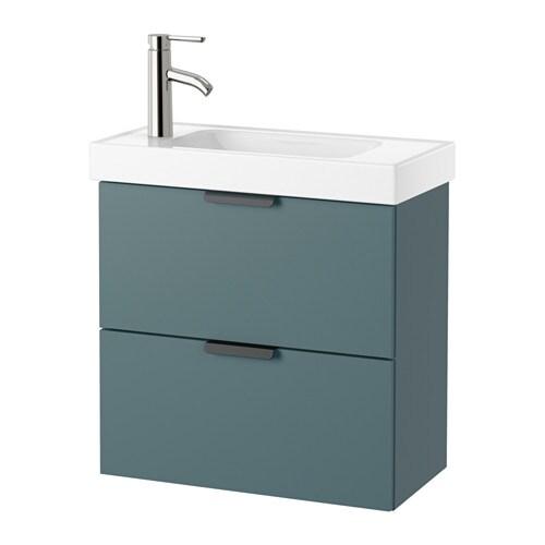 Godmorgon hagaviken mobile per lavabo con 2 cassetti grigio turchese ikea - Godmorgon ikea mobile alto ...