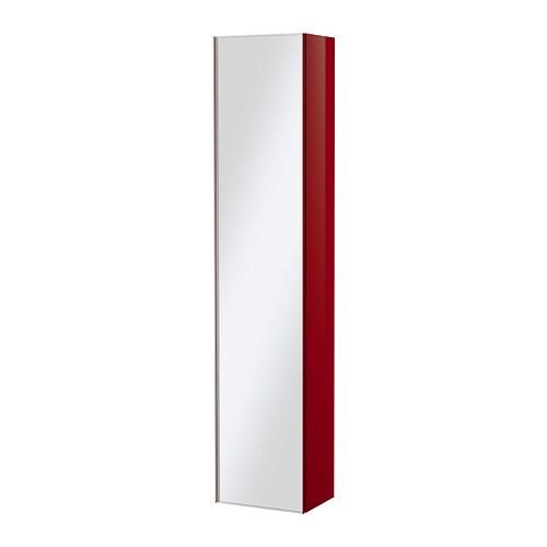 GODMORGON Mobile alto con anta a specchio - lucido rosso - IKEA