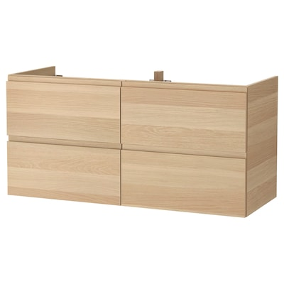 GODMORGON Mobile per lavabo con 4 cassetti, effetto rovere con mordente bianco, 120x47x58 cm