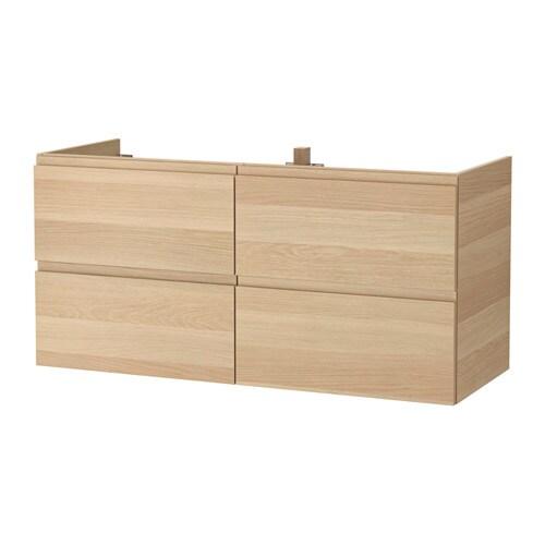 Godmorgon mobile per lavabo con 4 cassetti effetto rovere con mordente bianco ikea - Ikea mobili per lavabo bagno ...