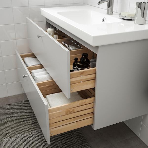 GODMORGON / ODENSVIK Mobile per lavabo con 2 cassetti, Gillburen grigio chiaro/Miscel Dalskär, 103x49x64 cm