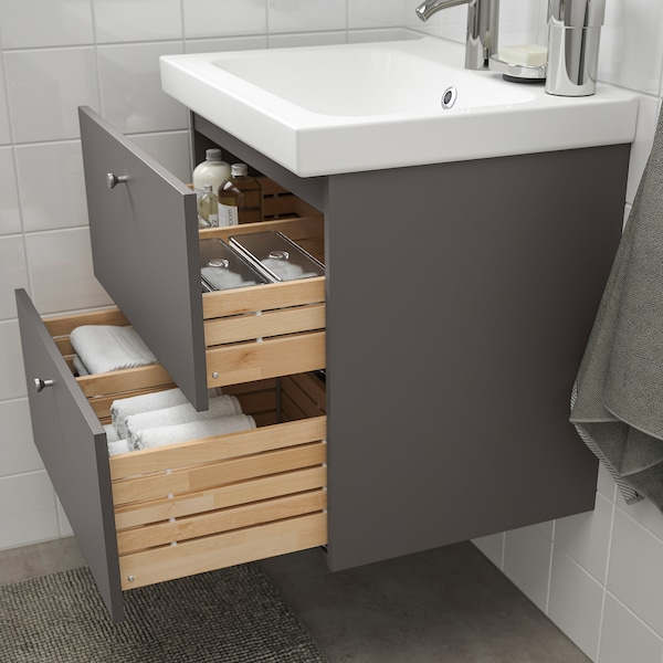 GODMORGON / ODENSVIK Mobile per lavabo con 2 cassetti, Gillburen grigio scuro/Miscel Dalskär, 63x49x64 cm