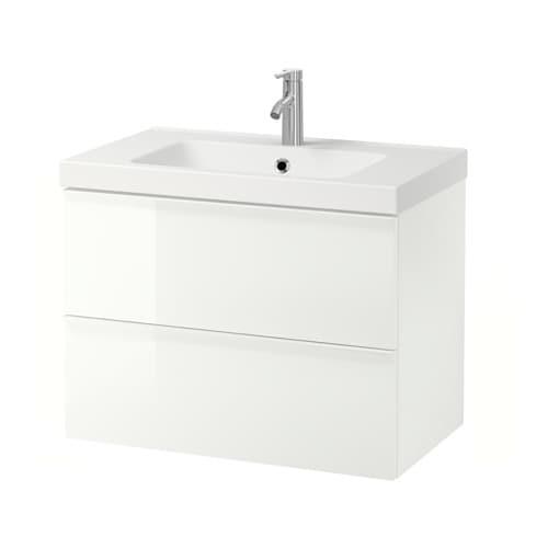 Godmorgon odensvik mobile per lavabo con 2 cassetti lucido bianco ikea - Ikea lavabo bagno ...