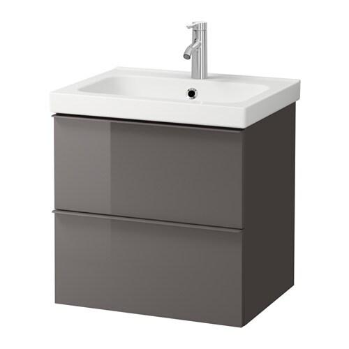 Godmorgon odensvik mobile per lavabo con 2 cassetti lucido grigio ikea - Ikea mobili bagno godmorgon ...