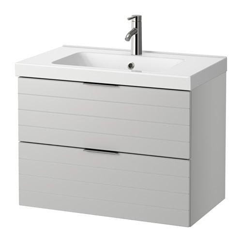 Godmorgon odensvik mobile per lavabo con 2 cassetti grigio chiaro 80x49x64 cm ikea - Godmorgon ikea mobile alto ...