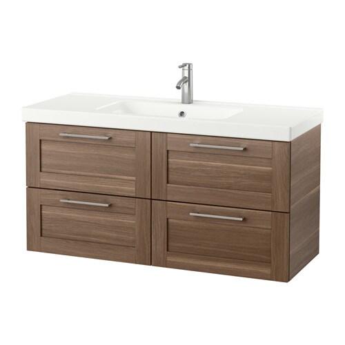 Godmorgon odensvik mobile per lavabo con 4 cassetti effetto noce ikea - Ikea mobili bagno con lavabo ...