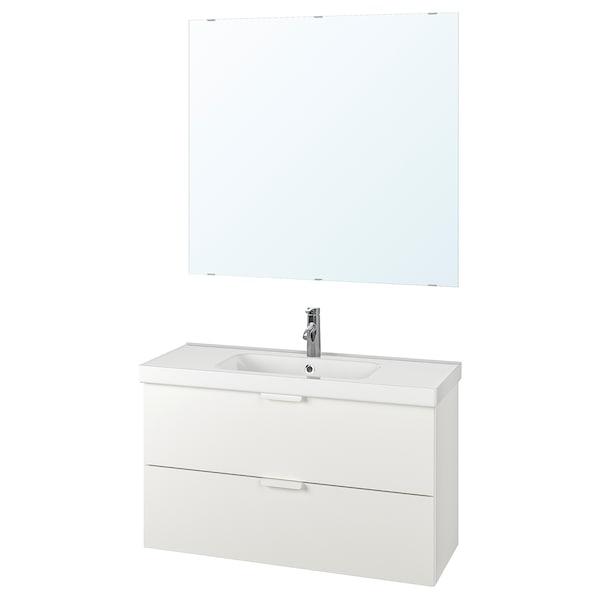 GODMORGON / ODENSVIK Set arredo bagno, 4 pezzi, bianco/Miscel Dalskär, 103 cm