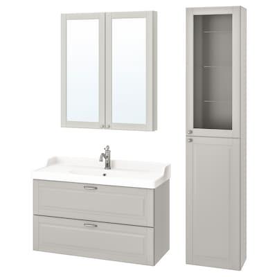 GODMORGON / RÄTTVIKEN Set arredo bagno, 5 pezzi, Kasjön grigio chiaro/Miscel Hamnskär, 102 cm