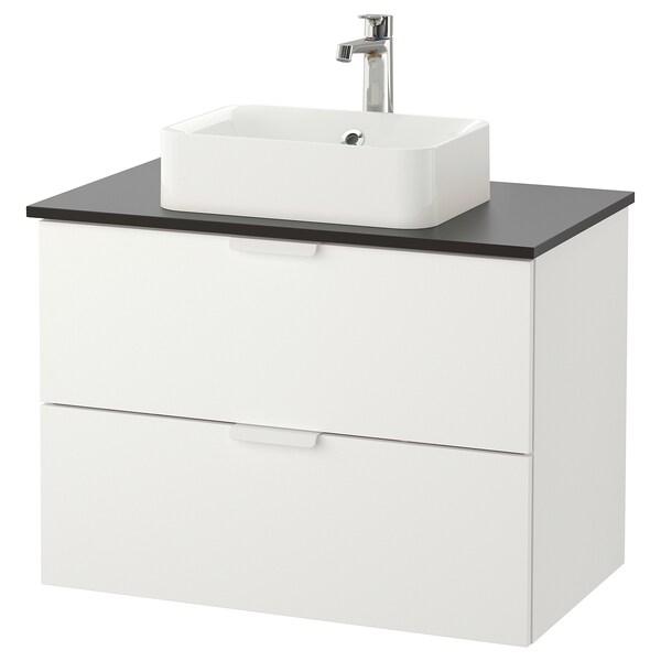 GODMORGON/TOLKEN / HÖRVIK Mobile lavabo/lavabo45x32 per piano, bianco/antracite Miscel Brogrund, 82x49x72 cm