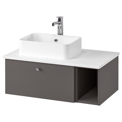 GODMORGON/TOLKEN / HÖRVIK Mobile lavabo/lavabo45x32 per piano, Gillburen grigio scuro/effetto marmo Miscel Brogrund, 82x49x43 cm