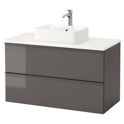 GODMORGON/TOLKEN / HÖRVIK Mobile lavabo/lavabo45x32 per piano, lucido grigio/bianco Miscel Brogrund, 102x49x72 cm