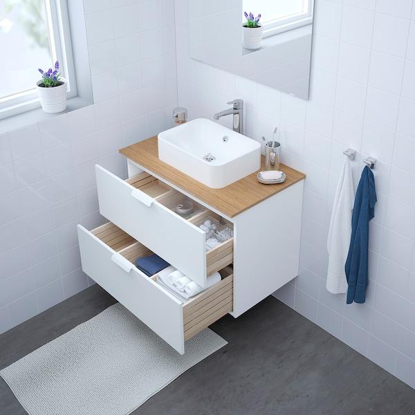 GODMORGON/TOLKEN / HÖRVIK mobile lavabo/lavabo45x32 per piano bianco/bambù Miscel Brogrund 82 cm 80 cm 49 cm 72 cm