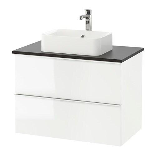 Godmorgon tolken h rvik mobile lavabo lavabo45x32 per piano antracite lucido bianco ikea - Mobile lavabo ikea ...