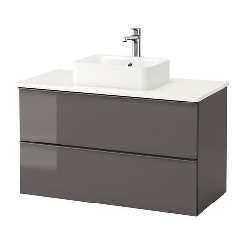 Godmorgon tolken h rvik mobile lavabo lavabo45x32 per piano bianco lucido grigio ikea - Mobile lavabo ikea ...