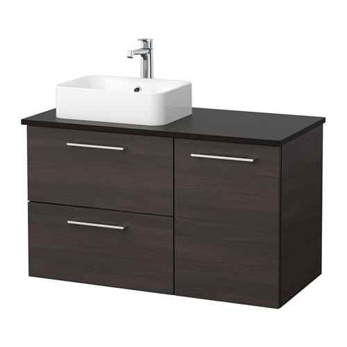 Godmorgon tolken h rvik mobile per lavabo con lavabo 45x32 antracite marrone nero ikea - Mobile lavabo ikea ...