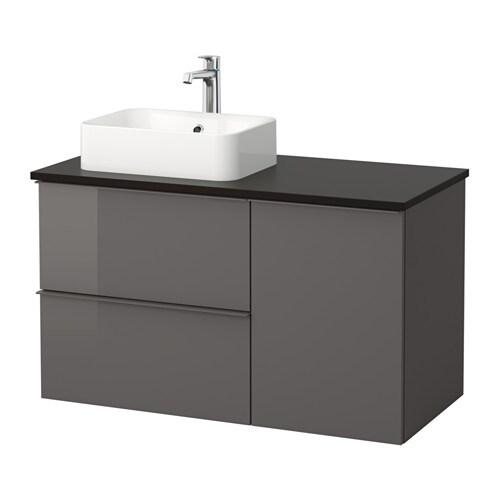 Godmorgon tolken h rvik mobile per lavabo con lavabo 45x32 antracite lucido grigio ikea - Godmorgon ikea mobile alto ...