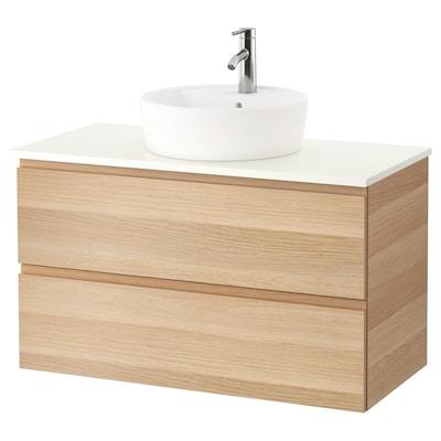 GODMORGON/TOLKEN / TÖRNVIKEN Mobile/lavabo 45/piano appoggio, effetto rovere con mordente bianco/bianco Miscel Dalskär, 102x49x74 cm