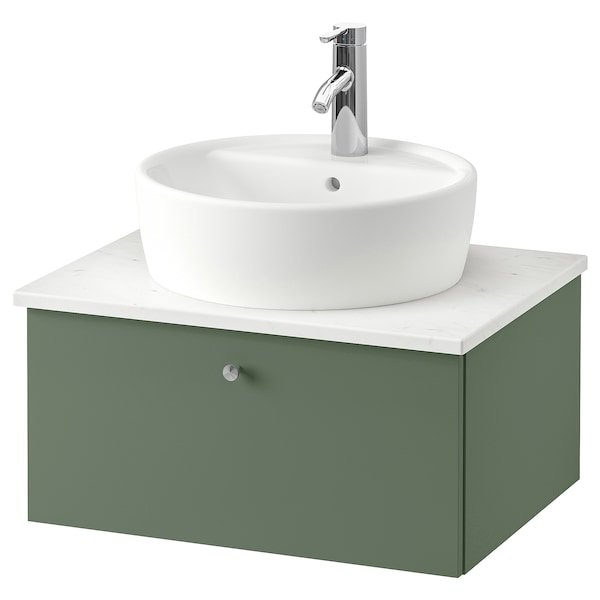 GODMORGON/TOLKEN / TÖRNVIKEN Mobile/lavabo 45/piano appoggio, Gillburen grigio-verde/effetto marmo Miscel Dalskär, 62x49x45 cm