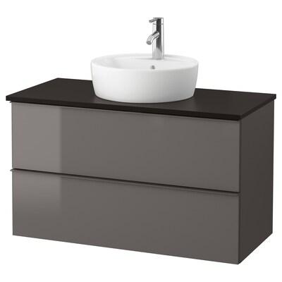 GODMORGON/TOLKEN / TÖRNVIKEN Mobile/lavabo 45/piano appoggio, lucido grigio/antracite Miscel Dalskär, 102x49x74 cm