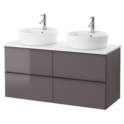 GODMORGON/TOLKEN / TÖRNVIKEN Mobile/lavabo 45/piano appoggio, lucido grigio/bianco Miscel Dalskär, 122x49x74 cm