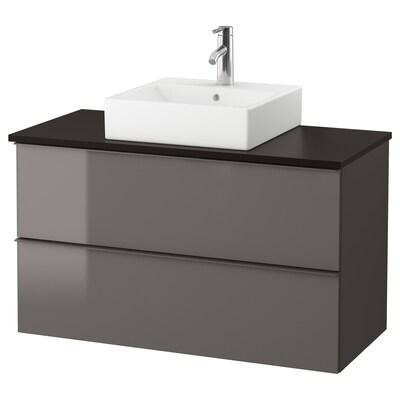 GODMORGON/TOLKEN / TÖRNVIKEN Mobile/lavabo 45x45/piano di lavoro, lucido grigio/antracite Miscel Dalskär, 102x49x72 cm