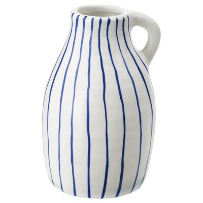 GODTAGBAR Vaso, ceramica bianco/blu, 14 cm