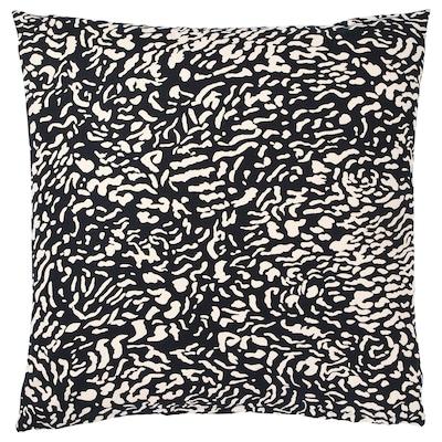 GRIMHILD Fodera per cuscino, nero/naturale, 50x50 cm