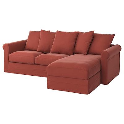 GRÖNLID Divano a 3 posti, con chaise-longue/Ljungen rosso chiaro