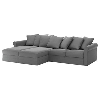 GRÖNLID Divano a 4 posti, con chaise-longue/Ljungen grigio fumo
