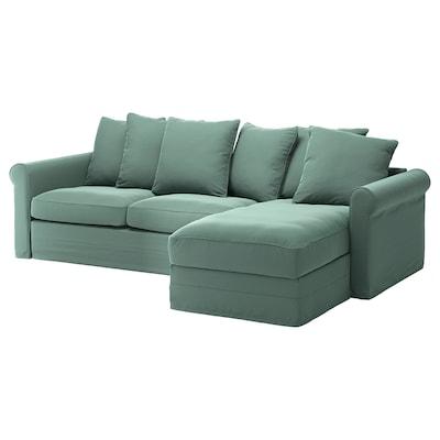 GRÖNLID Divano letto a 3 posti, con chaise-longue/Ljungen verde chiaro