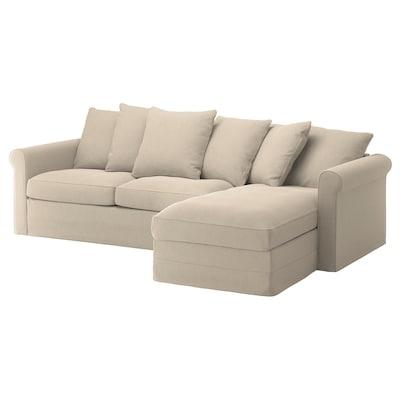 GRÖNLID Divano letto a 3 posti, con chaise-longue/Sporda naturale