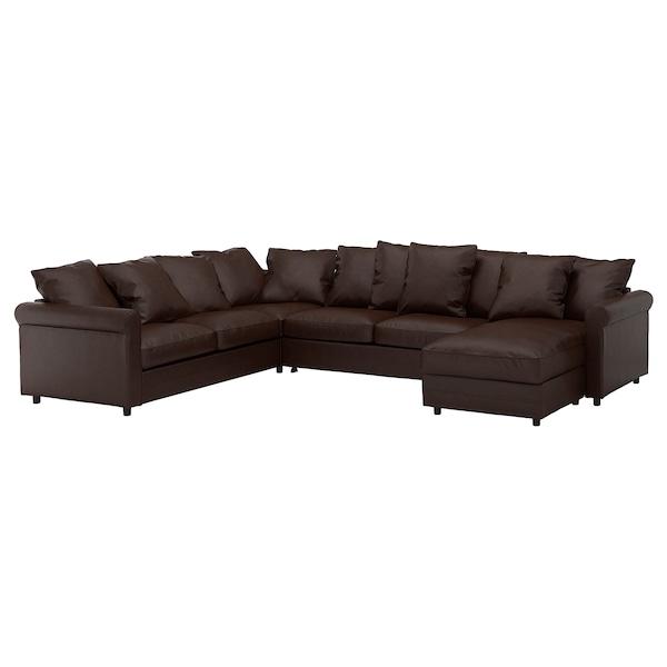 GRÖNLID Divano letto angolare a 5 posti, con chaise-longue/Kimstad marrone scuro