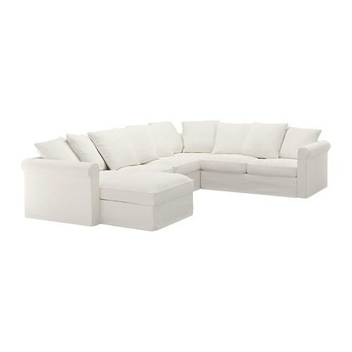 GRÖNLID Divano angolare a 5 posti - con chaise-longue/Inseros bianco ...