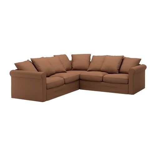 GRÖNLID Divano angolare a 4 posti - Inseros marrone chiaro - IKEA