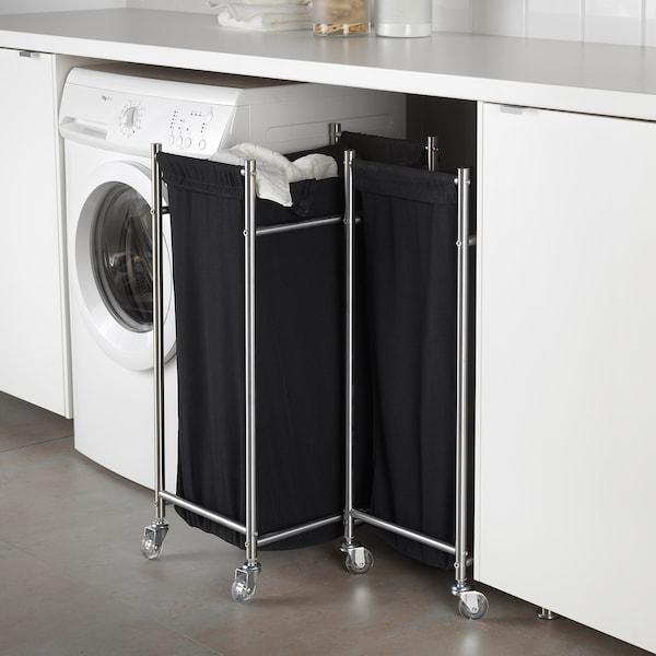 GRUNDTAL Sacco per il bucato con rotelle, inox/nero, 70 l