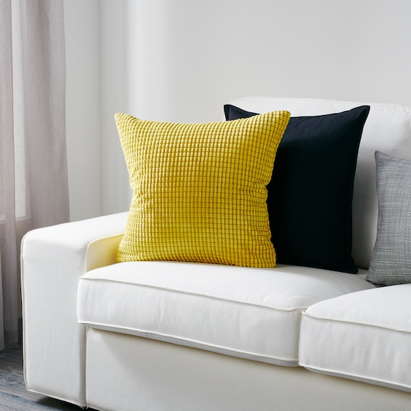 GULLKLOCKA Fodera per cuscino, giallo, 50x50 cm