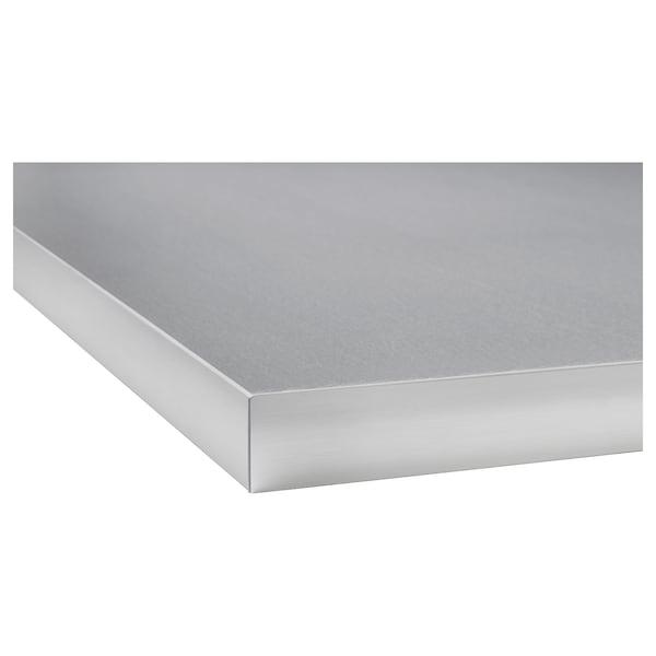 HÄLLESTAD Piano di lavoro double-face, bianco effetto alluminio/bordo effetto metallo laminato, 186x3.8 cm