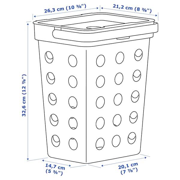 HÅLLBAR Secchio/coperchio rifiuti organici, grigio chiaro, 10 l
