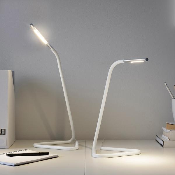 HÅRTE Lampada da lavoro a LED, bianco/color argento