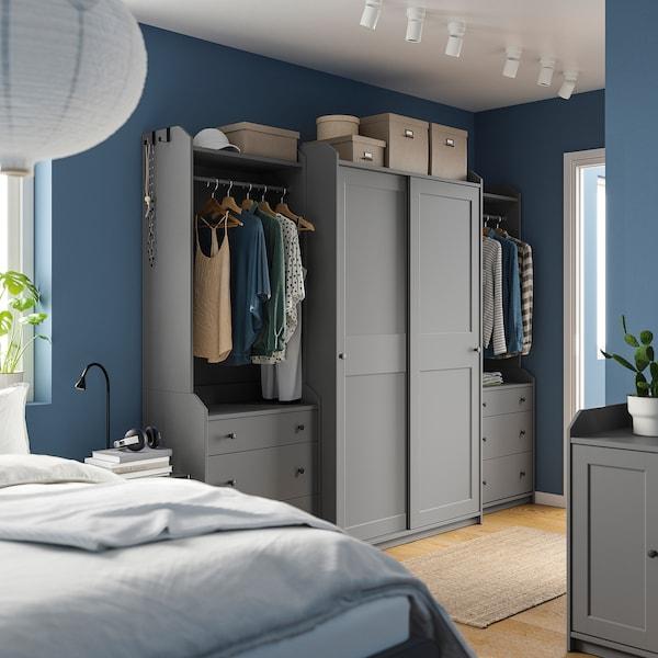 HAUGA Combinazione di guardaroba, grigio, 258x55x199 cm