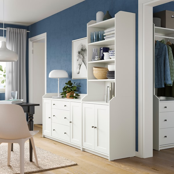HAUGA Combinazione di mobili, bianco, 210x46x199 cm