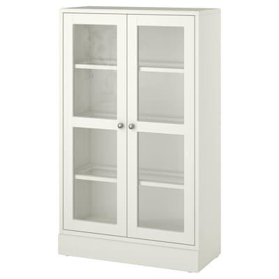 HAVSTA Vetrina con zoccolo, vetro trasparente bianco, 81x37x134 cm