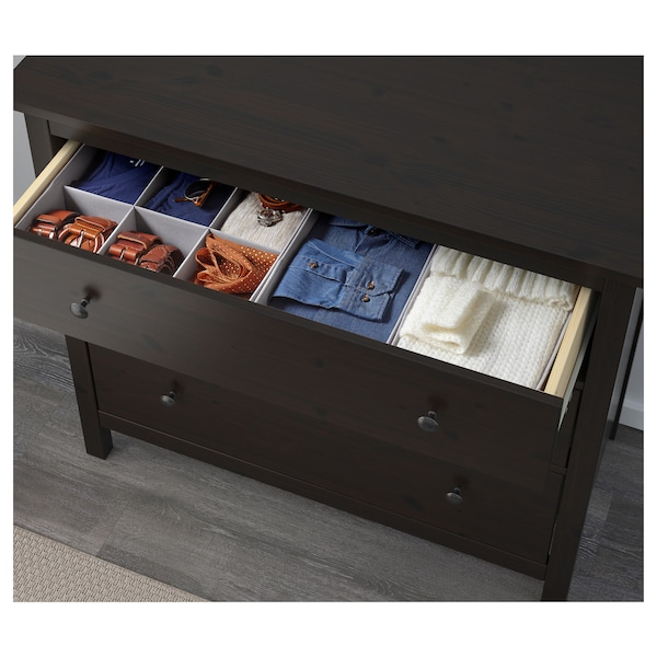 Ikea Cassettiera Hemnes 3 Cassetti.Hemnes Cassettiera Con 3 Cassetti Marrone Nero 108x96 Cm Ikea