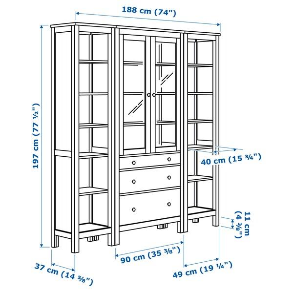 HEMNES Combinazione + ante/cassetti, marrone chiaro/vetro trasparente, 188x197 cm