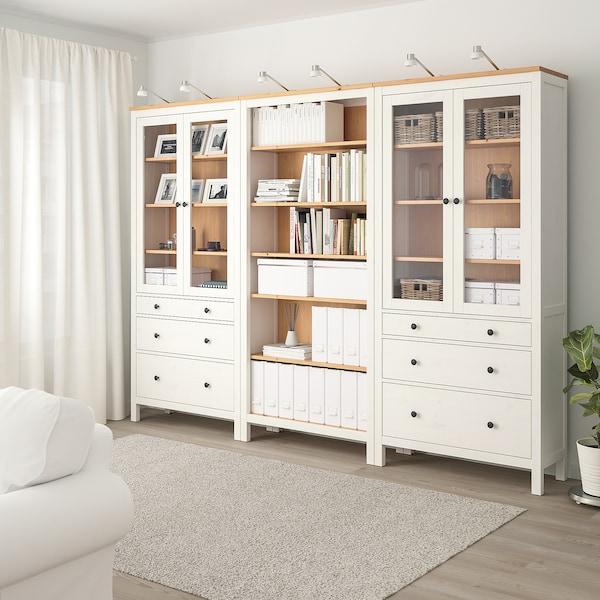 HEMNES Combinazione + ante/cassetti, mordente bianco/marrone chiaro, 270x197 cm