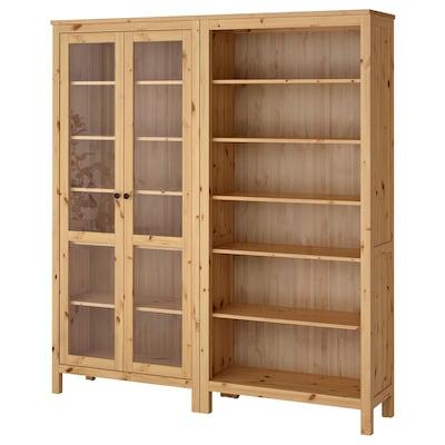 HEMNES Combinazione con ante a vetro, marrone chiaro, 180x197 cm