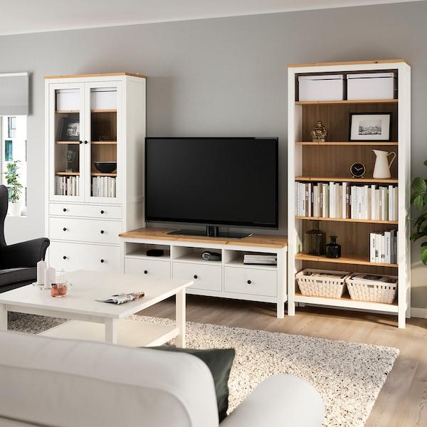 HEMNES Combinazione per TV, mordente bianco/marrone chiaro vetro trasparente, 326x197 cm