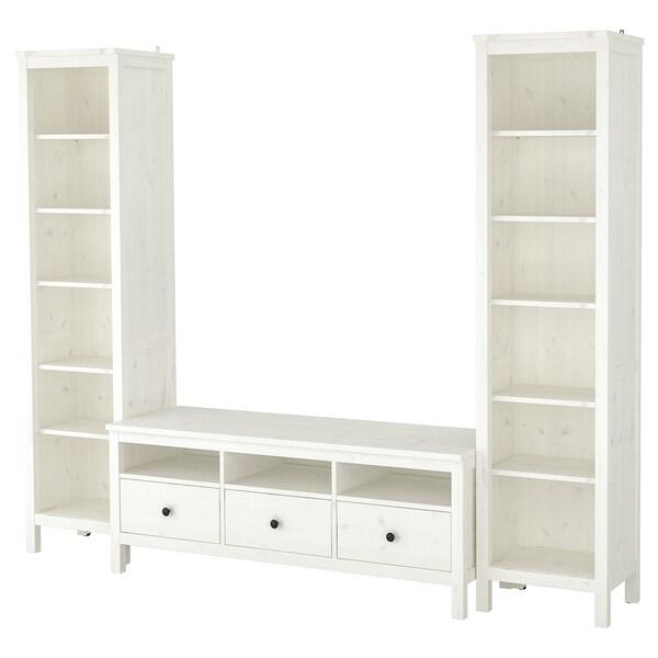 HEMNES Combinazione per TV, mordente bianco, 245x197 cm