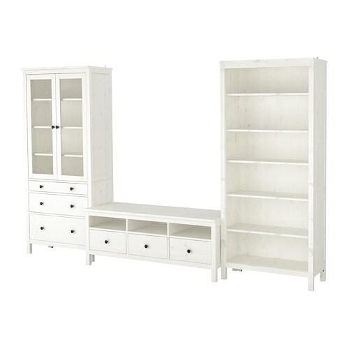 Hemnes Combinazione Per Tv Mordente Bianco Vetro Trasparente Ikea