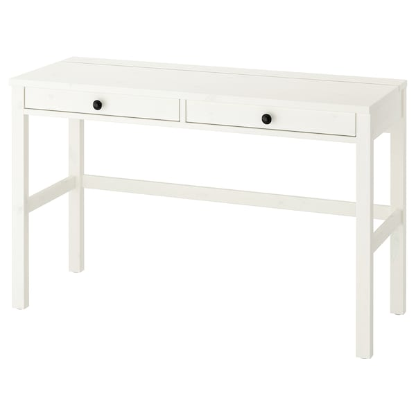 Cassettiera Per Scrivania Ikea.Hemnes Scrivania Con 2 Cassetti Mordente Bianco 120x47 Cm Ikea